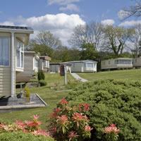 Row of spacious holiday home caravans